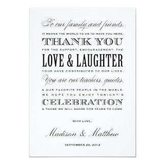 Sea recepción casada del | le agradecen las invitación 12,7 x 17,8 cm