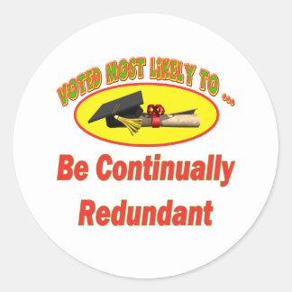 Sea redundante pegatina redonda