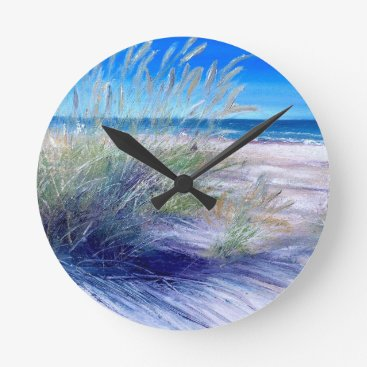 Beach Themed Sea & Sand Dunes Wall Clock