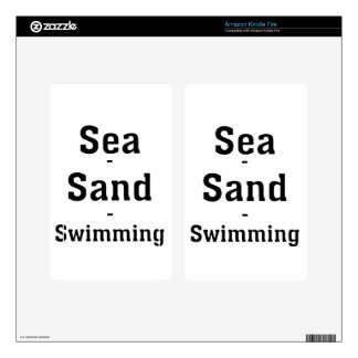 Sea - Sand - Swimming Kindle Fire Decals