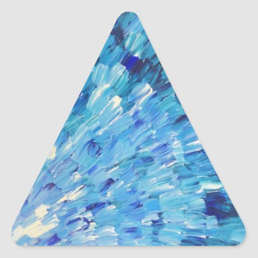 SEA SCALES IN INDIGO - Stunning Ocean Waves Blue Triangle Stickers