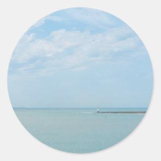 sea scape coming home classic round sticker