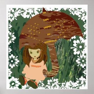 Sea seguro conforme a un poster del paraguas