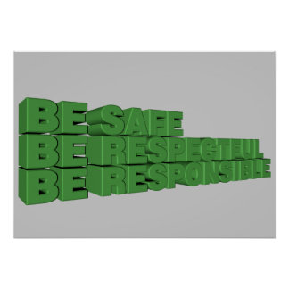 Sea seguro, respetuoso, y responsable póster