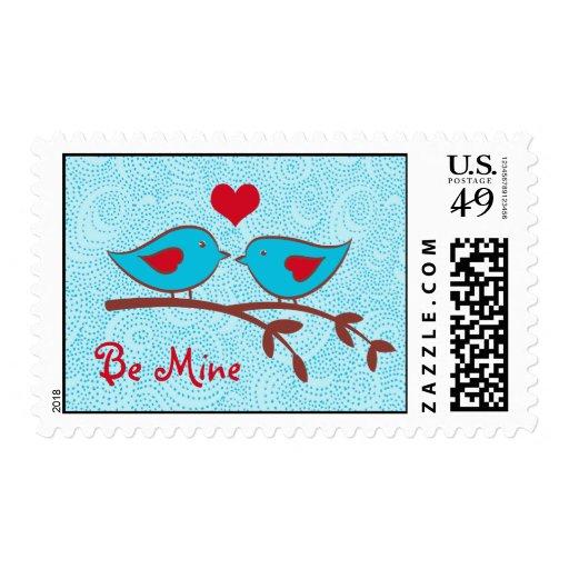 Sea sello de los pájaros del amor de la mina