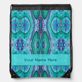 Sea Serpent Abstract Drawstring Bag