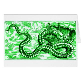SEA SERPENT DEVOURING SHIP - in Green Print Card