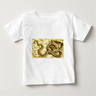 SEA SERPENT DEVOURING SHIP in vintage gold print Baby T-Shirt