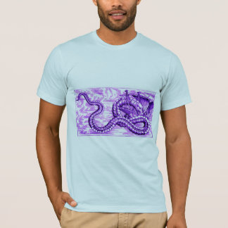 SEA SERPENT DEVOURING SHIP in vintage violet print T-Shirt