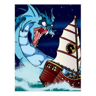 Sea Serpent Drama Postcard