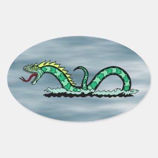 Sea Serpent Oval Sticker