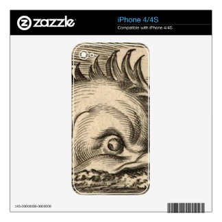 Sea Serpent Riding a Wave Skins For iPhone 4S