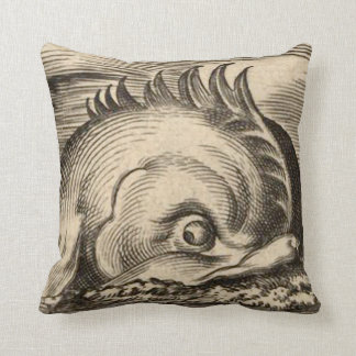 Sea Serpent Riding a Wave Throw Pillow