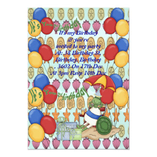 Sea Shell 2nd Birthday 5x7 Paper Invitation Card