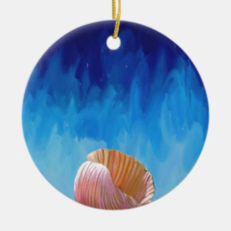 sea shell, abstract, expressionist, humanity, blue ceramic ornament