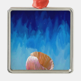 sea shell, abstract, expressionist, humanity, blue metal ornament