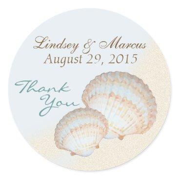 happygotimes Sea Shell Beach Classic Round Sticker