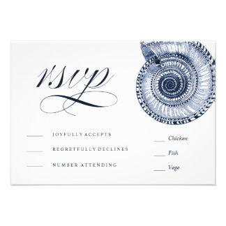 Sea Shell Beach Wedding Traditional RSVP Card