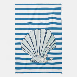 Sea Shell Blue and White Stripe Towel