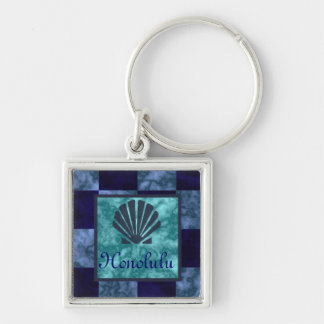 Sea Shell Checkered Baby Blue, Blue, and Navy Hono Silver-Colored Square Keychain