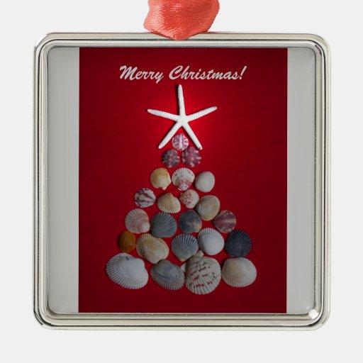 Sea Shell Christmas Tree Metal Ornament