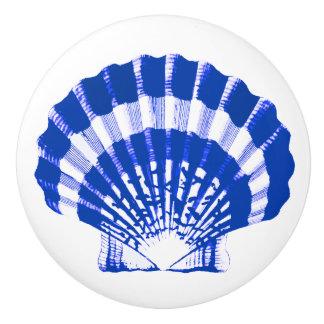 Sea Shell - cobalt blue and white Ceramic Knob