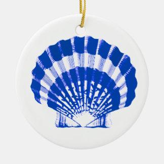 Sea Shell - cobalt blue and white Ceramic Ornament