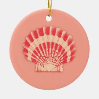 Sea Shell - coral and peach Ceramic Ornament