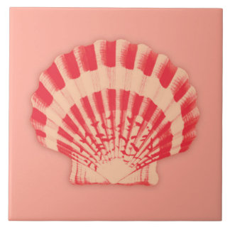 Sea shell - coral and peach ceramic tile