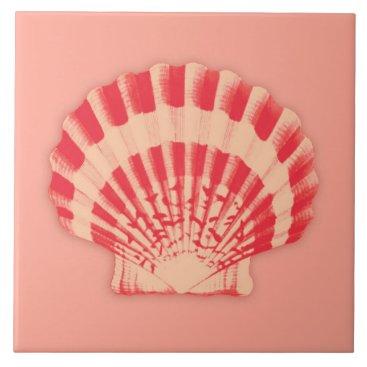 Beach Themed Sea shell - coral and peach ceramic tile