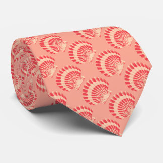 Sea shell - coral and peach neck tie