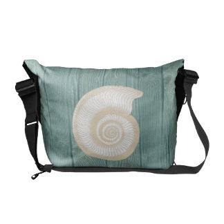Sea Shell Cream Vintage Aqua Wood Messenger Bag