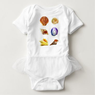 Beach Themed sea shell design bright and colourful baby bodysuit