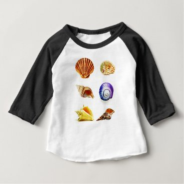 Beach Themed sea shell design bright and colourful baby T-Shirt