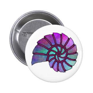 Sea Shell Digital Stencil Collage - 16 Pinback Button