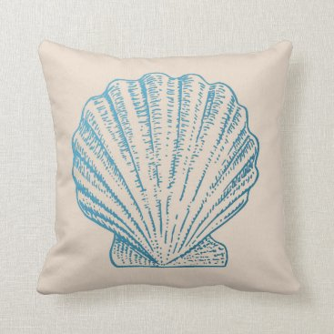 Beach Themed Sea Shell in Blue Throw Pillow