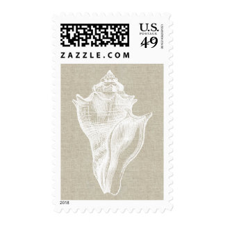 Sea Shell Linen Beach Postage Stamp