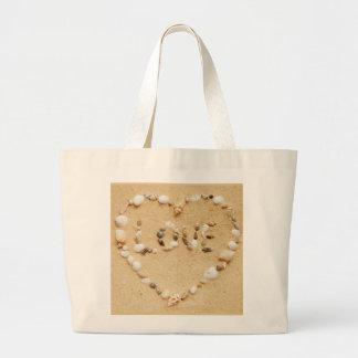 Sea Shell Love Heart Canvas Bag