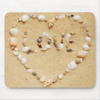 Sea Shell Love Heart Mouse Pad