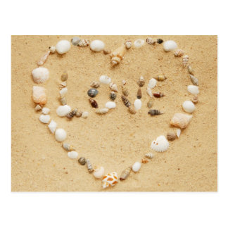 Sea Shell Love Heart Postcard