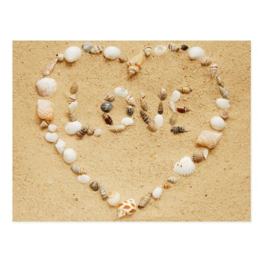 Sea Shell Love Heart Postcard