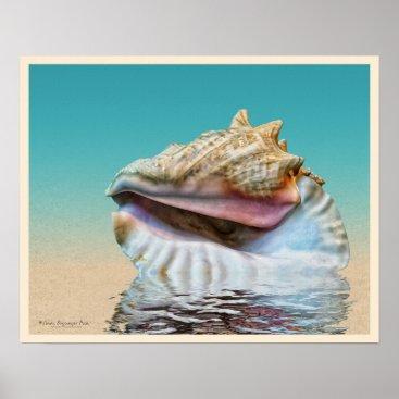 Beach Themed Sea Shell Ocean Blue Poster