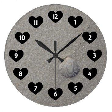 Beach Themed Sea Shell On The Beach With Heart Wall Clock
