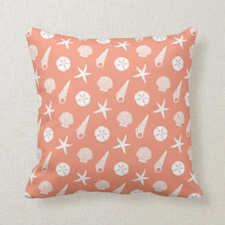 Sea Shell Pattern in Coral Peach and White Throw Pillow