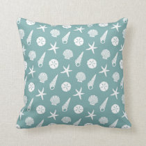 Sea Shell Pattern in Seafoam Green and White Throw Pillow