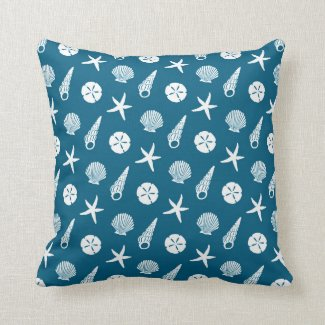 sea shell pattern in shaded teal blue and cream pillow