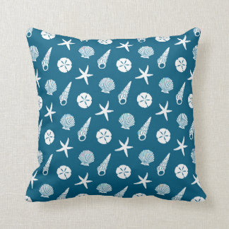 Sea Shell Pattern in Shaded Teal Blue and Cream Throw Pillow