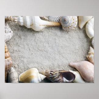 Sea Shell Sand Background - Beach Shells Customize Poster
