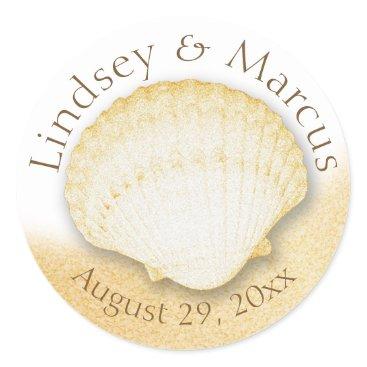 Beach Themed Sea Shell Sparkle Gold Beach Classic Round Sticker