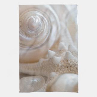 Sea Shell & Starfish Background - Beach Shells Kitchen Towels